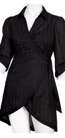 Black comfortable and feminine wrap around shirt with